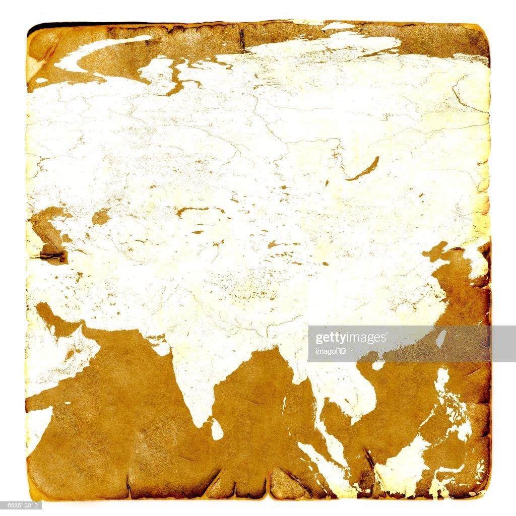 Karte Russland Asien.Karte Von Asien Kontinent Leer Im Alten Stil Russland China