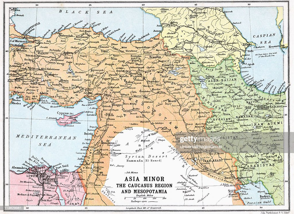 Map Of Asia Minor And Caucasus Region And Mesopotamia At Beginning