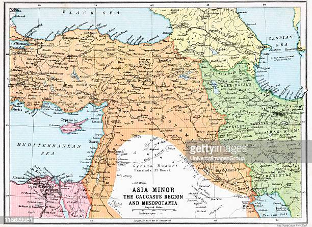 Map of Asia Minor and Caucasus Region and Mesopotamia at beginning of First World War From The Great World War A History Volume III published 1916