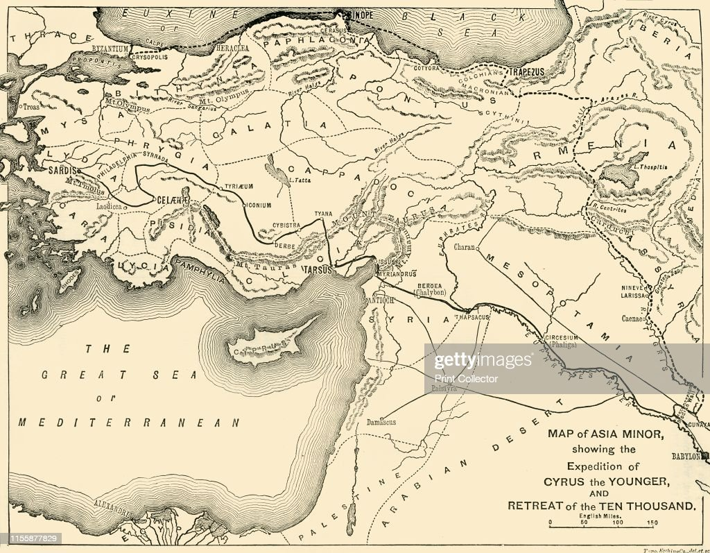 Map Of Asia Minor.Map Of Asia Minor Showing The Expedition Of Cyrus The Younger And