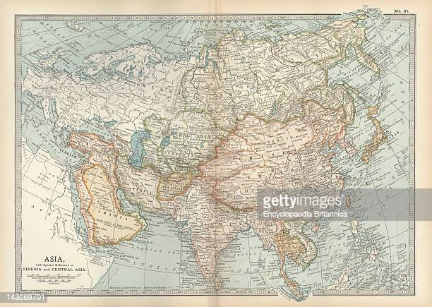 Map Of Asia With Siberia And Central Asia Map Of Asia Circa 1902 From The 10Th Edition Of Encyclopaedia Britannica