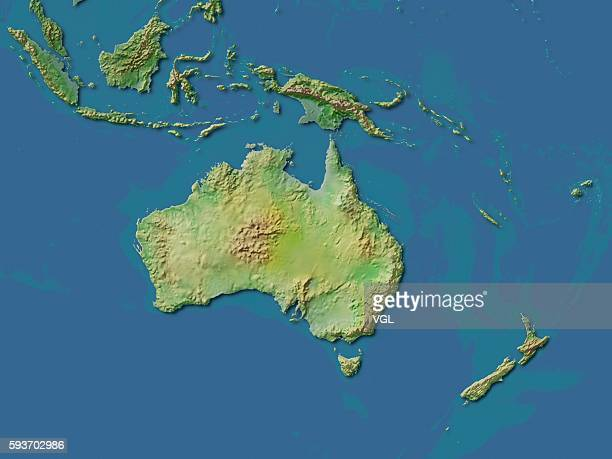 Map of Australia and New Zealand.