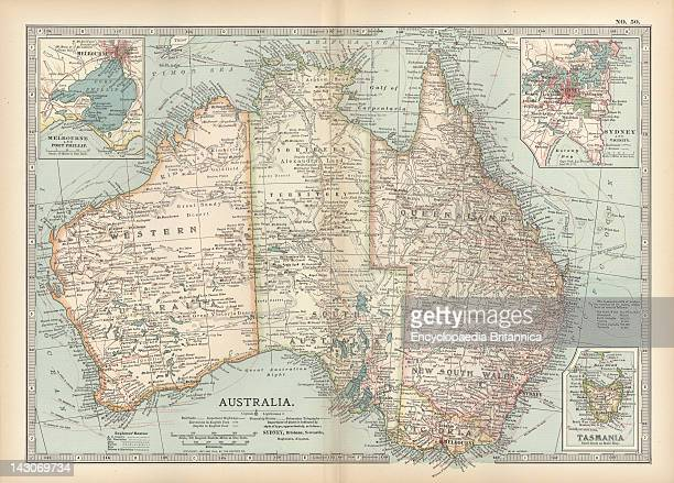 Map Of Australia And Tasmania Map Showing Australia With Insets Of Melbourne And Port Phillip Tasmania And Sydney And Vicinity Circa 1902 From The...