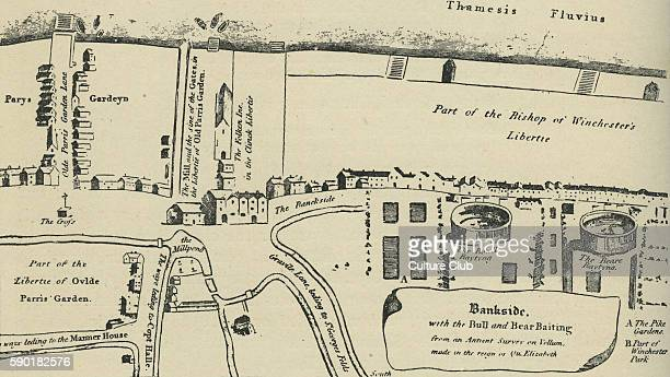 Map of Bankside in Southwark London during the time of William Shakespeare Shakespeare 's Globe Theatre was at Maiden Lane Bankside from 15991642