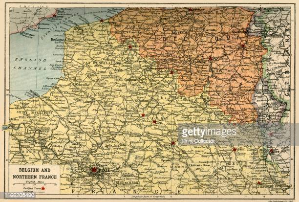 Map of Belgium and Northern France circa 1914 How the area looked at the start of the First World War From The Great World War A History Volume I...
