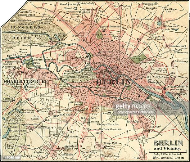 Map Of Berlin Map Of The City Of Berlin And Vicinity Germany Circa 1900 From The 10Th Edition Of Encyclopaedia Britannica
