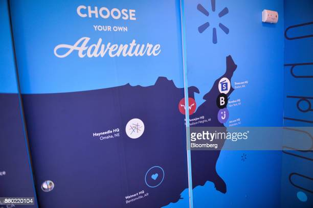 A map of brand headquarters is seen inside the company's campus recruitment recreational vehicle during a career fair at the University of...