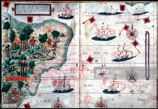Map of Brazil by Portuguese navigators Pedro Reinel and Lopo Homen c1525
