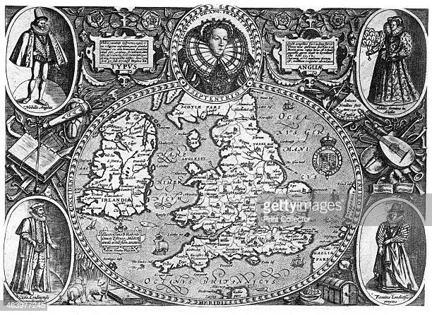 Map of Britain 16th century A map of England Wales and Ireland featuring Queen Elizabeth I