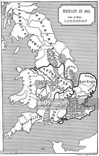 Map of Britain in 665 An illustration from A Short History of the English People by John Richard Green illustrated edition Volume I Macmillan and Co...