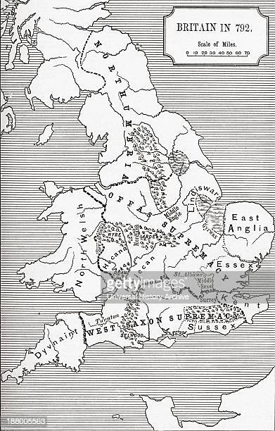 Map Of Britain In 792 The Three Kingdoms 685 To 828 From The Book Short History Of The English People By JR Green Published London 1893