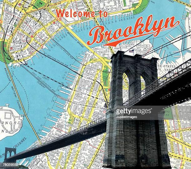 Map of Brooklyn and bridge