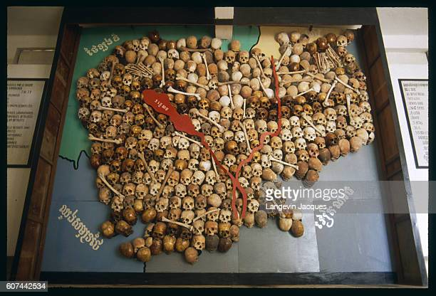 Map of Cambodia made out of human bones and skulls at the museum of Tuoi Sleng formerly used by Khmer Rouges as a torture center under the Polpot...
