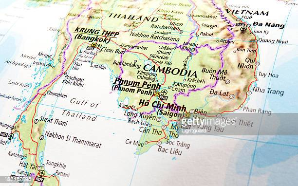 map of cambodia - cambodia stock pictures, royalty-free photos & images