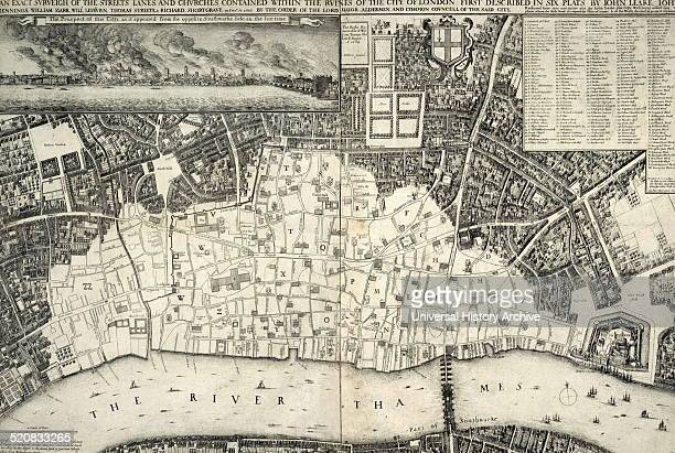Map of central London, England dated 1677 shows the re-built areas of the city after the 'Great Fire of London'.