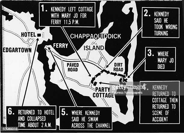 Map of Chappaquiddick Island just off the island of Martha's Vineyard that shows the locations of the major events of the evening of July 18 when a...