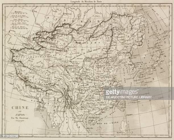 Map of China and Japan by Thunot Duvotenay cartographer engraving from Chine ou Description historique geographique et litteraire de ce vaste empire...