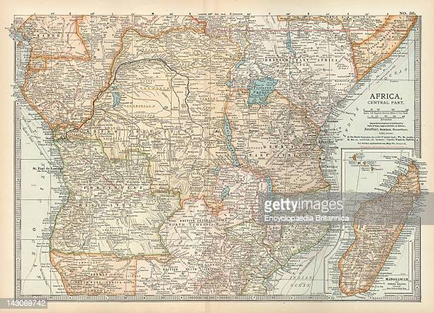 Map Of Colonial Africa With Madagascar Map Of Southern Colonial Africa With An Inset Of Madagascar Circa 1902 From The 10Th Edition Of Encyclopaedia...