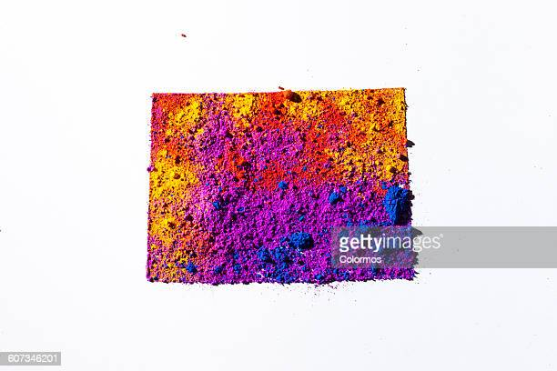 Map of Colorado, USA with colored powder