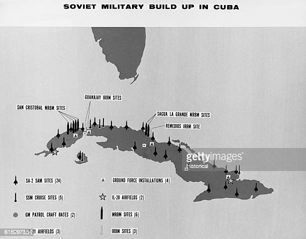 A map of Cuba shows Soviet missile sites and the types of installations at each Ca 1962