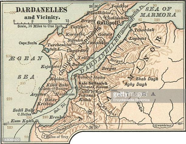Map Of Dardanelles Map Of Dardanelles Circa 1900 From The 10Th Edition Of Encyclopaedia Britannica