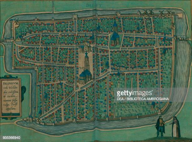 Map of Delft Netherlands coloured engraving from De praecipuis totius universi urbibus liber tertius by Georg Braun and Franz Hogenberg with plates...