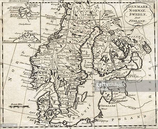 Map of Denmark Norway Sweden and Finland Undated engraving