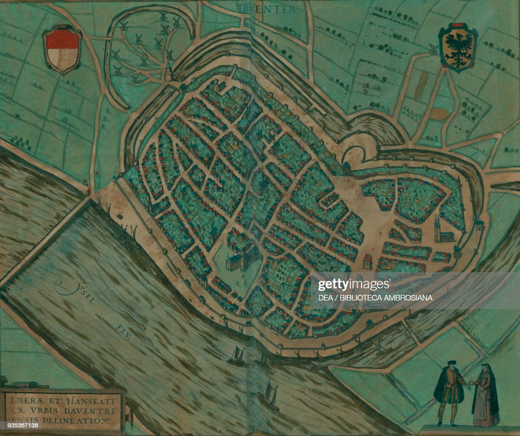 Map of Deventer Netherlands colored engraving Pictures Getty Images