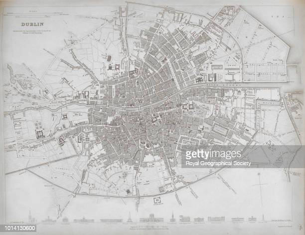 Map of Dublin Plate 174 from 'Atlas of Maps of the Society for the Diffusion of Useful Knowledge', published by Chapman & Hall , Republic of Ireland,...