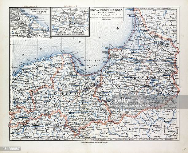 Map Of East And West Prussia K Nigsberg And Danzig 1899