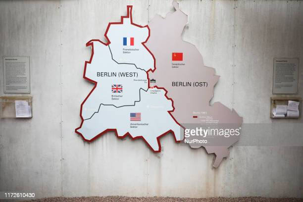 A map of East Berlin and West Berlin at Checkpoint Charlie memorial site in Berlin Germany on 26th September 2019 Checkpoint Charlie was the...