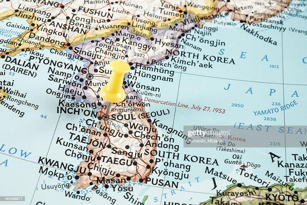 Map Of Eastern Asia With Pin On Seoul Stock Photo - Getty Images Nanam Korea On Map Of on capital of korea, n. korea, map from florida to korea, area of russia near korea, pyongyang korea, world map korea,