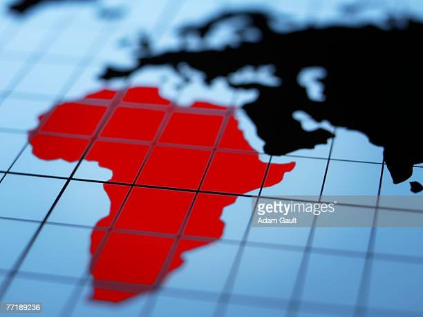 map of eastern hemisphere highlighting africa - africa stock pictures, royalty-free photos & images