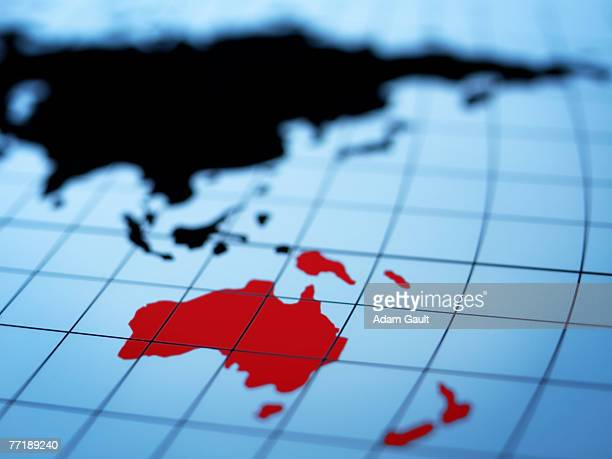 map of eastern hemisphere highlighting australia - breitengrad stock-fotos und bilder