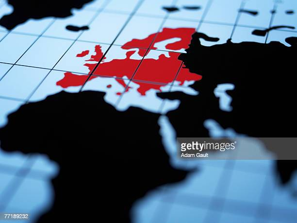 map of eastern hemisphere highlighting europe - europe stock pictures, royalty-free photos & images
