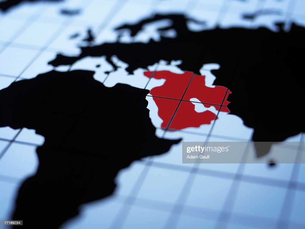 Map of eastern hemisphere highlighting middle east : Stock Photo