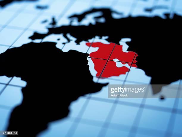 Map of eastern hemisphere highlighting middle east