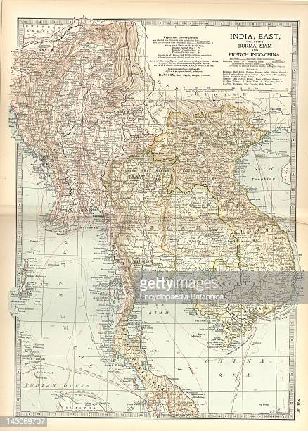 Map Of Eastern India Map Showing Historical Boundaries Of Eastern India Burma Siam And French IndoChina Circa 1902 From The 10Th Edition Of...