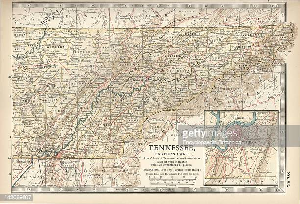 Map Of Eastern Tennessee Map Of The Eastern Part Of Tennessee With Inset Map Of Chattanooga Circa 1902 From The 10Th Edition Of Encyclopaedia...