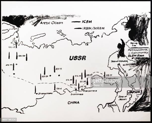 Map of Eastern USSR Missile Bases' by Andy Warhol American artist who was a leading figure in the visual art movement known as pop art