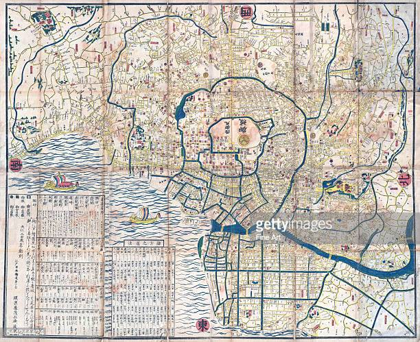 Map of Edo Tokugawa period woodcut with colors 42 x 34 in private collection