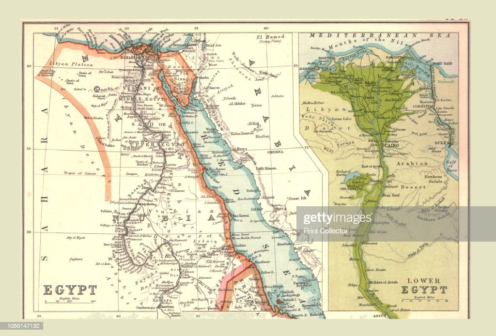 Map Of Egypt 1902 Showing The Red Sea And Sinai With Inset Of The