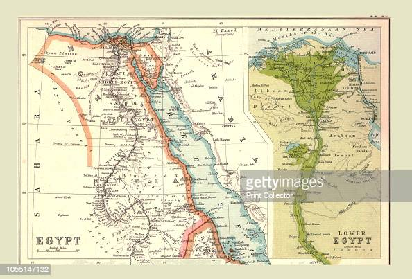 Map of Egypt, 1902  Showing the Red Sea and Sinai, with