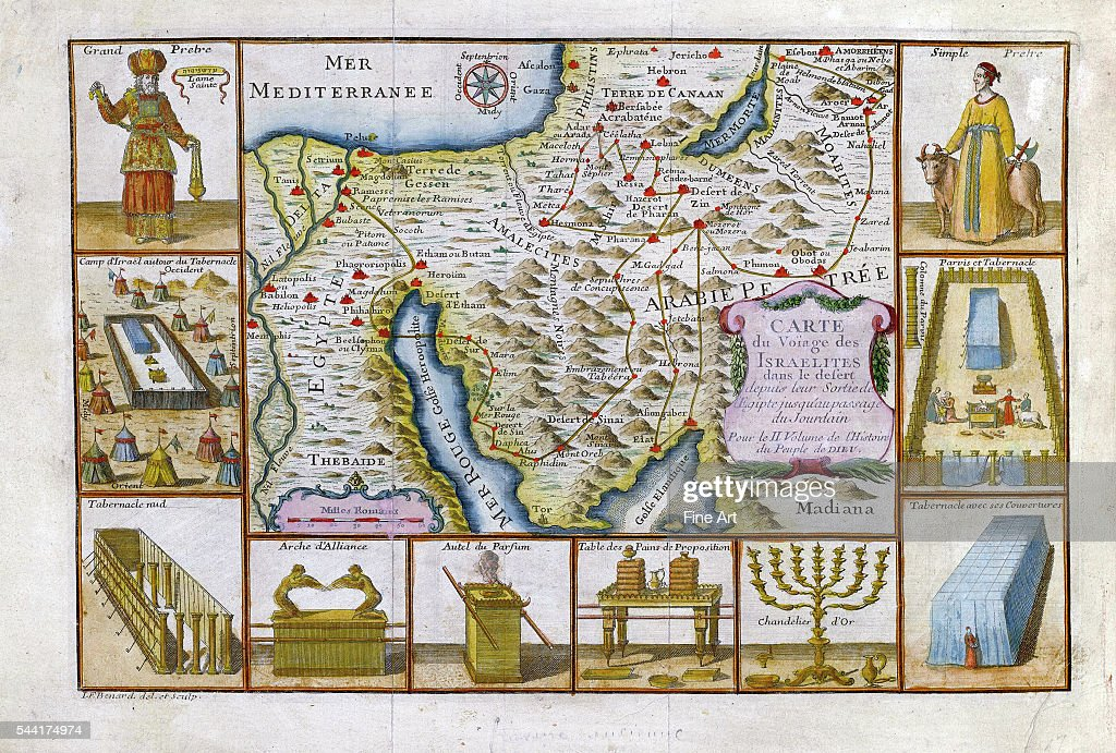 1751 Map Of Egypt, Arabia And The Middle East Showing The Voyage Of The  Israelites