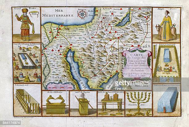 1751 map of Egypt Arabia and the Middle East showing the voyage of the Israelites and a few of their important objects figures and events Engraving...