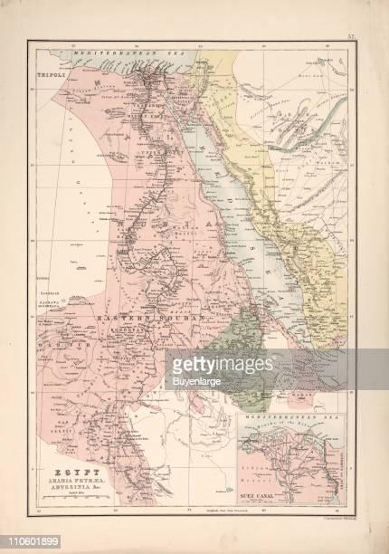 Map of Egypt Arabia Petra Abyssinia 1885 Illustration by John George Bartholomew