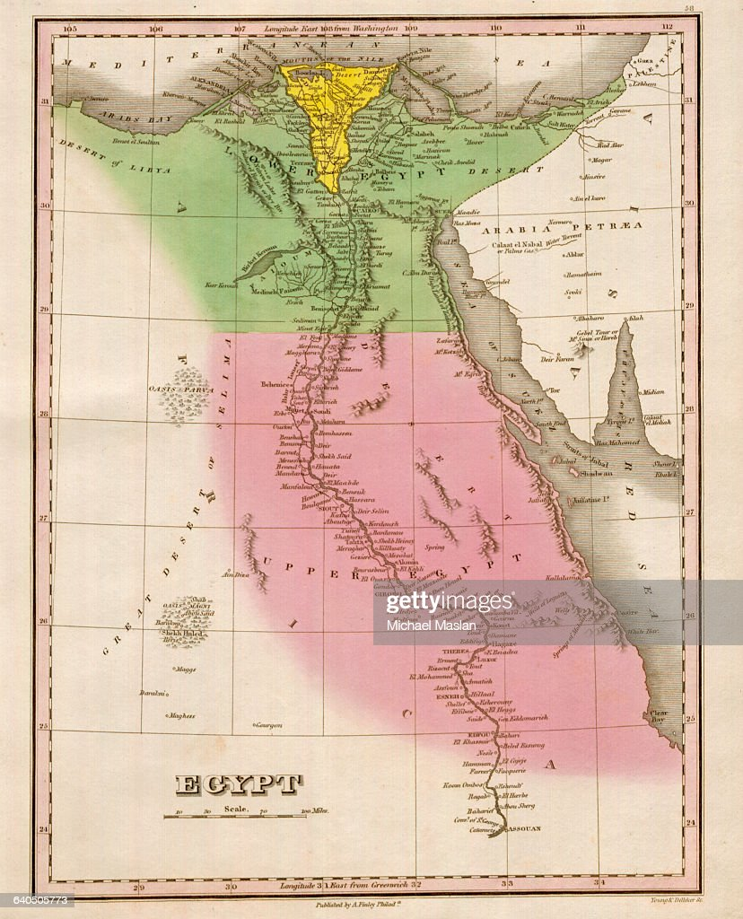 A 1826 Map Of Egypt Includes Upper Egypt Lower Egypt The Nile