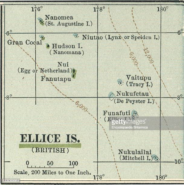 Map Of Ellice Islands Map Of Ellice Islands Circa 1902 From The 10Th Edition Of Encyclopaedia Britannica