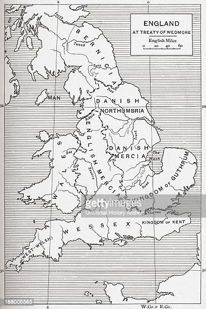 Map Of England At The Time Of The Treaty Of Wedmore In 878 From The Book Short History Of The English People By JR Green Published London 1893