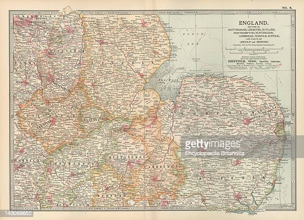Map Of England Map Of England Including Nottingham Leicester Rutland Northampton Huntingdon Cambridge Norfolk Circa 1902 From The 10Th Edition Of...